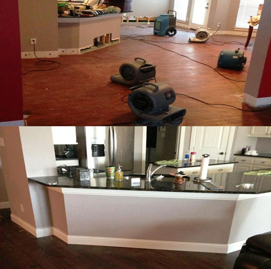 before and after water damage restoration